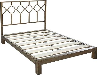 Honeycomb Metal Headboard and Aura Gold Metal Platform Bed (Gold, Full)