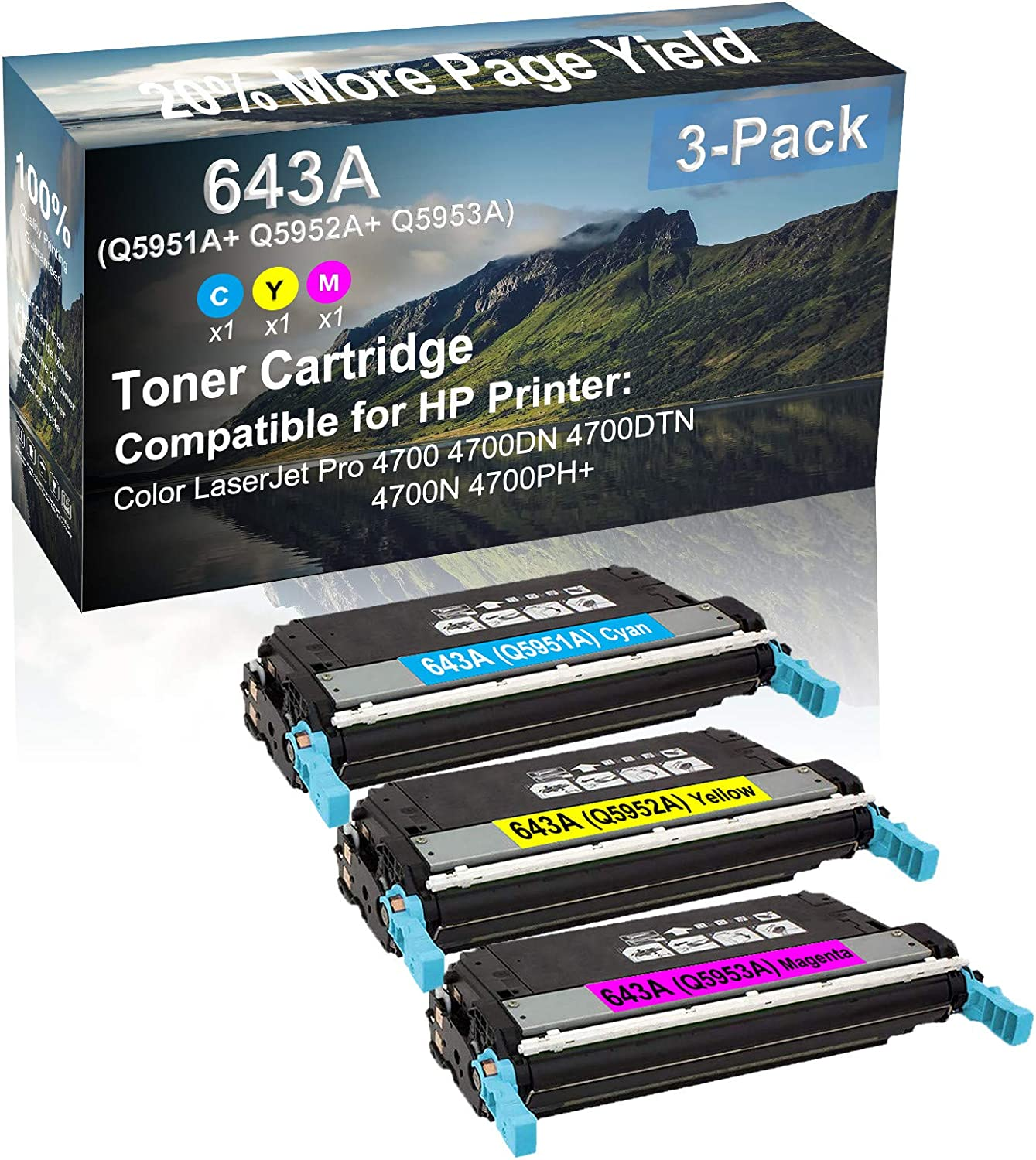 3-Pack (C+Y+M) Compatible 4700, 4700DN, 4700DTN, 4700N, 4700PH+ Printer Toner Cartridge High Capacity Replacement for HP (Q5951A+ Q5952A+ Q5953A) 643A Toner Cartridge