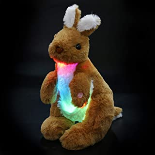 Bstaofy Light up Stuffed Kangaroo Plush Toy Adorable Nightlight for Kids Afraid of Dark Birthday for Toddlers, 12 Inches