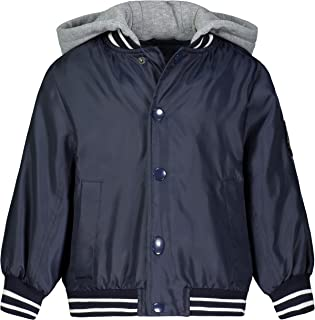 LONDON FOG Boys' Little Quilted Bomber Jacket with Hood, Navy Varsity, 5/6