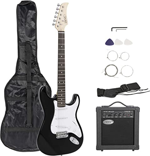 ZENY 39in Full Size Electric Guitar with Amp, Case and Accessories Pack Beginner Starter Package, Black