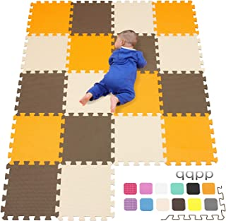 qqpp Alfombra Puzzle para Ninos Bebe Infantil - Suelo de Goma EVA Suave. 18 Piezas (30x30x1cm)- Naranja-Marron-Beige. QQC-BFJb18N