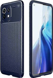 Xiaomi Mi 11 Lite (Xiaomi Mi 11 Lite) Shockproof Silicone Carbon Fiber Back Case Cover - (Blue)