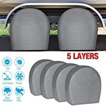 RVMasking Tire Covers for RV Wheel Set of 4 Extra Thick 5-ply Motorhome Wheel Covers, Waterproof UV Coating Tire Protectors for Trailer Truck Camper Auto, Fits 32