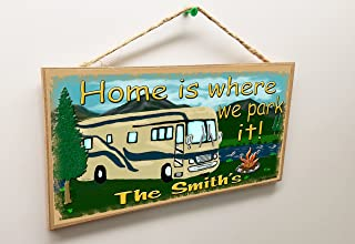 """Blackwater Trading Personalized Your Name Mountains Home is Where We Park It RV 5"""" x 10"""" Sign Plaque Camping Decor Custom"""