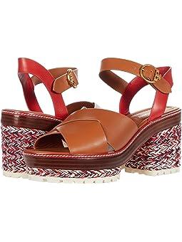토리버치 샌들 Tory Burch Miranda 80 mm Espadrille Sandal,Ambra/Brilliant Red