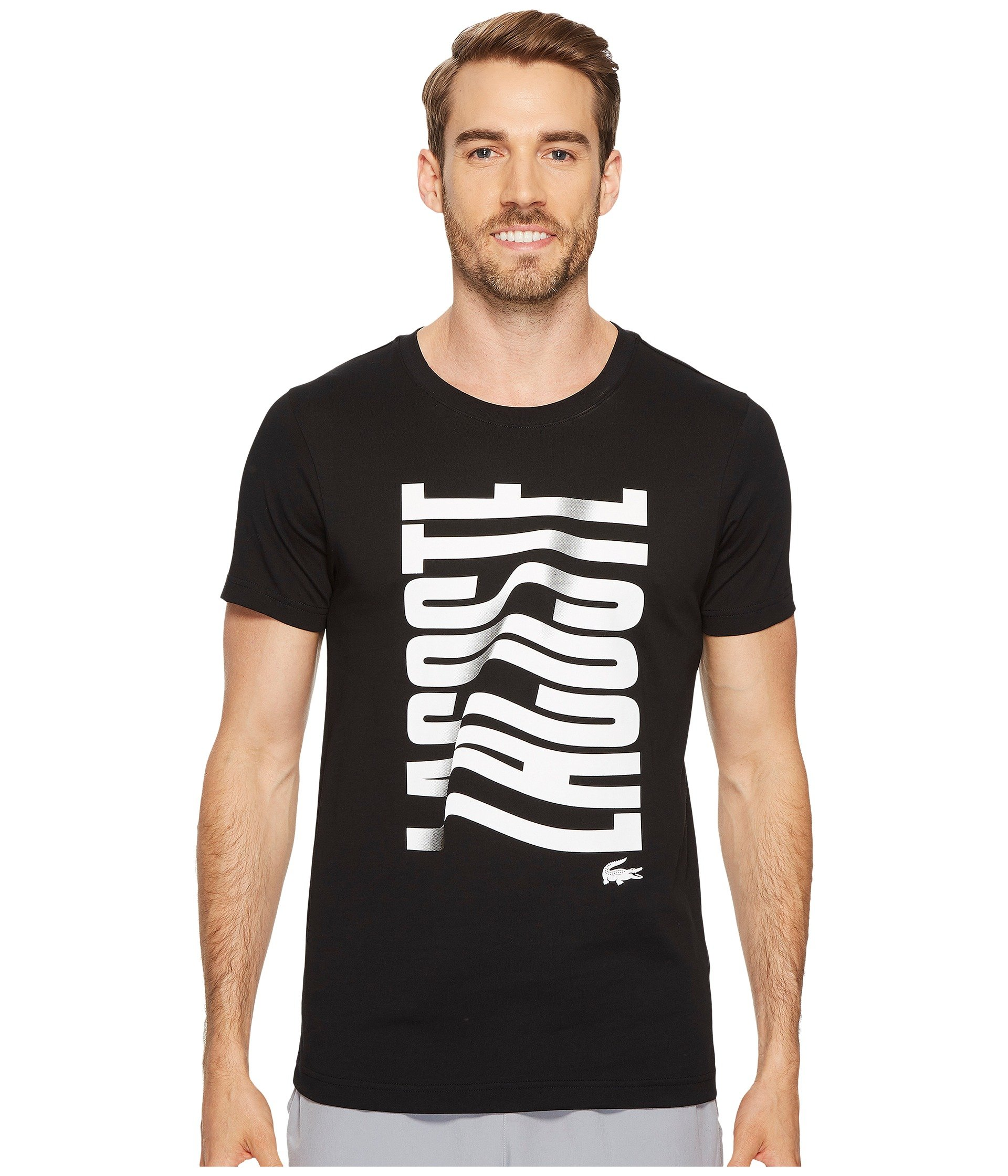 Lacoste short sleeve vertical lacoste graphic t shirt at 6pm for Short sleeve lacoste shirt