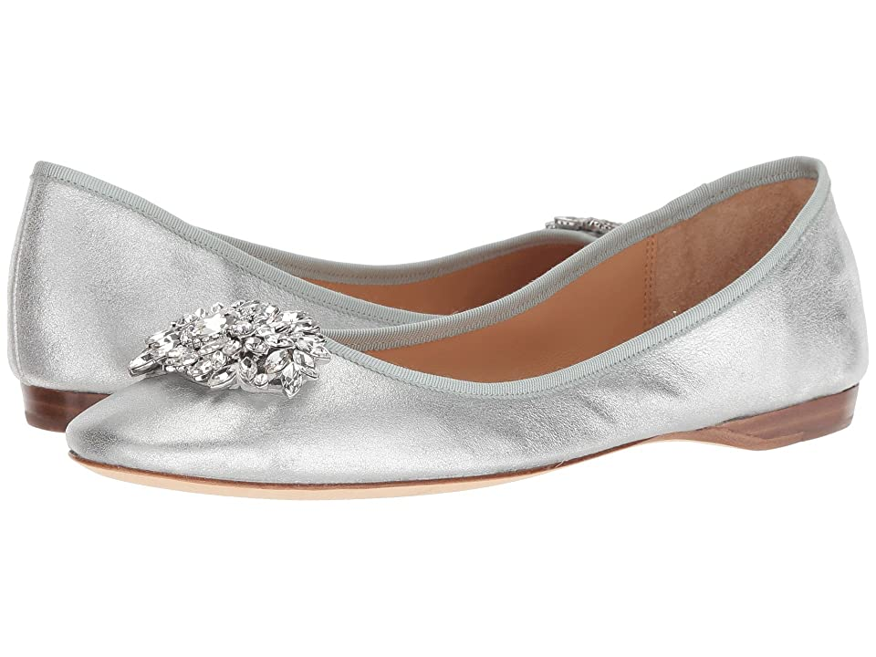 Vintage Wedding Shoes, Flats, Boots, Heels Badgley Mischka Pippa Silver Metallic Suede Womens Flat Shoes $185.00 AT vintagedancer.com