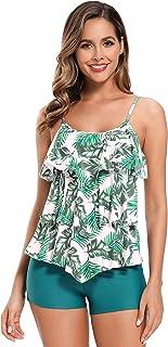 SHEKINI Women's Floral Print Swimsuit Ruffle Flounce Tankini Top with Boyshorts
