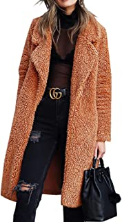 Women's Fuzzy Fleece Lapel Open Front Long Cardigan Coat Faux Fur Warm Winter Outwear Jackets with Pockets