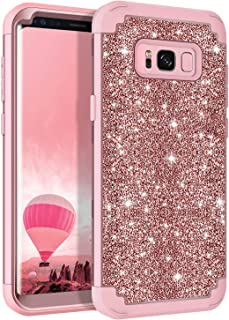 Lontect Compatible Galaxy S8 Case Luxury Glitter Sparkle Bling Heavy Duty Hybrid Sturdy Armor High Impact Shockproof Protective Cover Case for Samsung Galaxy S8, Shiny Rose Gold