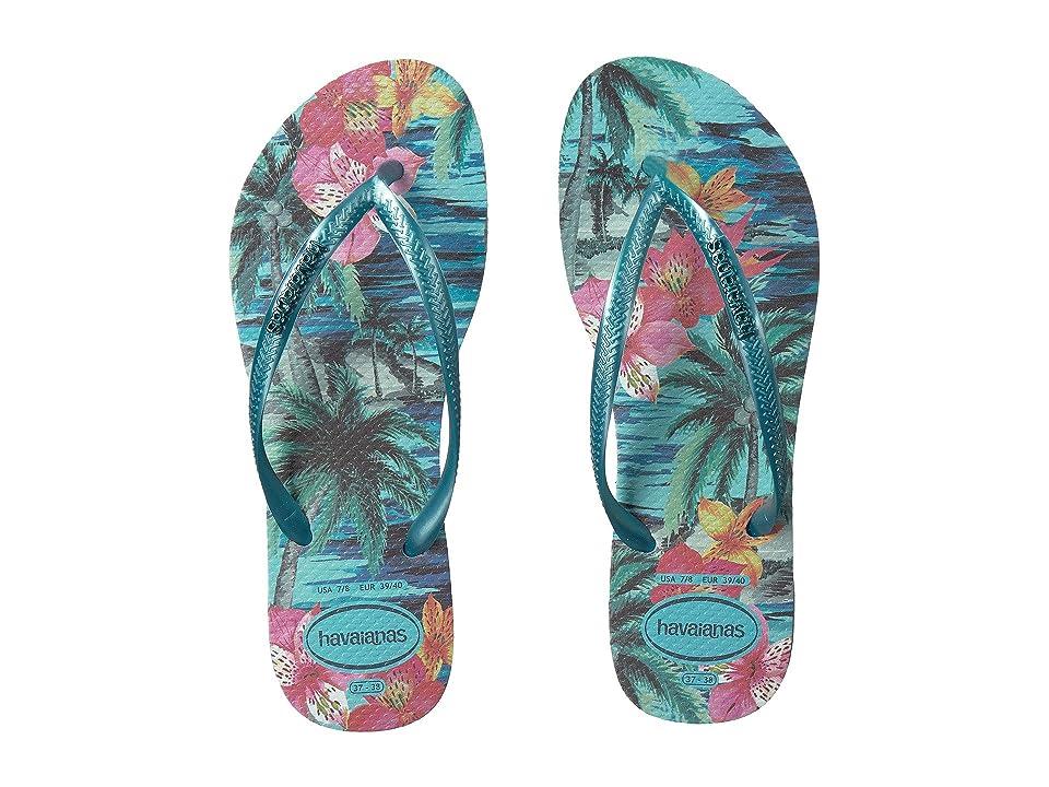 Havaianas Slim Tropical Flip Flops (Blue Splash) Women