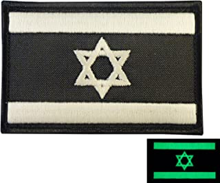 LEGEEON Glow Dark Israel Flag IDF Morale Star David Army Embroidered Touch Fastener Patch