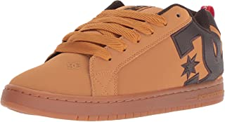 DC Men's Court Graffik SE Skate Shoe, Wheat/Turkish Coffee, 12 Medium US