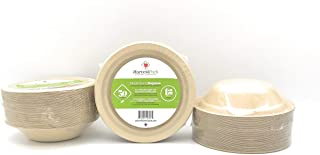[50 Count] 12 oz Round Disposable Bowls - Natural Sugarcane Bagasse Bamboo Fibers Sturdy Twelve Ounce Compostable Eco Friendly Environmental Paper Bowl Alternative 100% by-Product Tree Plastic Free