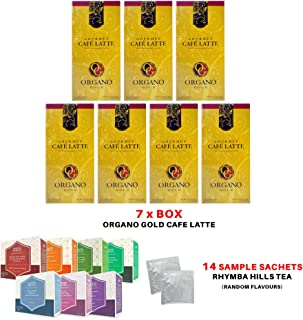 7 Boxes Organo Gold Café Latte 100% Certified Organic Gourmet Low Caffeine Coffee (20 sachets/box) + Free 12 sachets Organo Gold Green Tea + Free Express