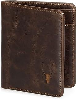 TORRO Premium Leather Men's Slim Bifold Wallet in Genuine USA Dark Brown Leather - Dark Brown