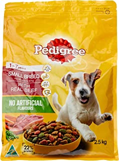 Pedigree Small Breed Real Minced Beef Dry Dog Food 2.5 kg 1 Pack Medium
