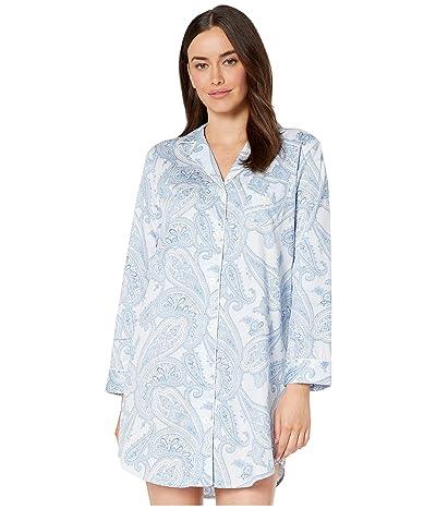LAUREN Ralph Lauren Sateen Woven Long Sleeve Pointed Notch Collar Sleepshirt (Blue Print) Women