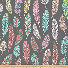 David Textiles Prints Ethnic Feathers Fleece, Gray/Coral