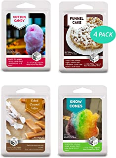 BAC Home 4 Pack - Carnival Candy Collection Soy Blend Scented Wax Melts Wax Cubes, 10.0 oz, [24 Cubes] with Cotton Candy, Salted Caramel, Funnel Cake and Snow Cones