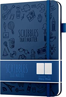 $21 » Dotted Journal by Scribbles That Matter - Create Your Perfect Bullet Journal on Ultra Thick 160gsm No Bleed Paper - A5 Hardcover Notebook - Fountain Pens Friendly Paper - Iconic Version - Navy Blue