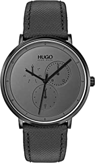 Hugo Men's #Guide - Ultra Slim Quartz Black IP and Leather Strap Casual Watch, Grey, 1530009