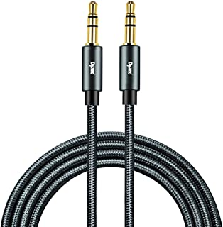 Dyazo 5 ft (1.5 Meter) 3.5 mm Nylon Braided Gold Plated Male to Male Car Aux Cable Stereo Aux Audio Cable/Auxiliary Stereo Cable for Smart Phones Compatible Car/Home Stereos, Speaker (Black)