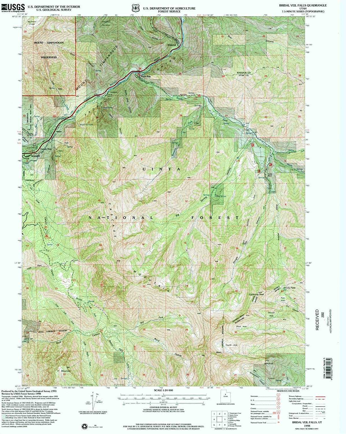 Bridal Veil Falls UT topo map, 1 24000 Scale, 7.5 X 7.5 Minute, Historical, 1998, Updated 2000, 26.6 x 21.8 in