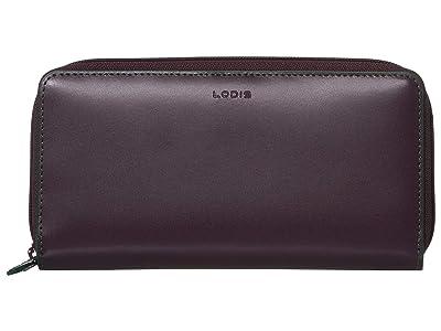 Lodis Accessories Audrey Under Lock Key RFID Perla Zip Wallet (Deep Plum/Ivy) Wallet Handbags