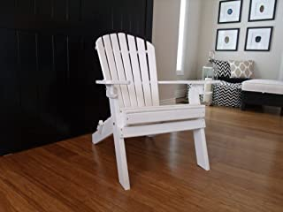 New Deluxe 7 Slat Poly Lumber Wood Folding Adirondack Chair with 2 Cup Holders-Yellow- Amish Made USA