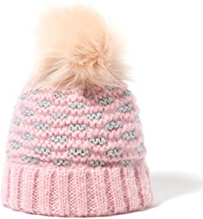 accsa Toddler Baby Beanie Hat Cable Knit Pom with Fleece Lining