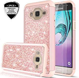 Samsung Galaxy J3V /J3 (2016 Release)/Sky/Amp Prime/Express Prime/Sol Case with Tempered Glass Screen Protector (2 Pack) for Girls Women,LeYi Glitter Heavy Duty Phone Case for Galaxy J3 V TP Rose Gold