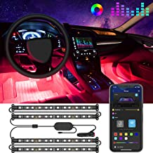 Govee Interior Car Lights, Car LED Strip Light Upgrade Two-Line Design Waterproof 4pcs 48 LED APP Controller Lighting Kits, Multi DIY Color Music Under Dash Car Lighting with Car Charger, DC 12V