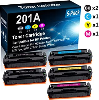 5-Pack (2BK+C+Y+M) Compatible M252, MFP M277 Laser Toner Cartridge (High Capacity) Replacement for HP 201A (CF400A CF401A CF402A CF403A) Printer Toner Cartridge
