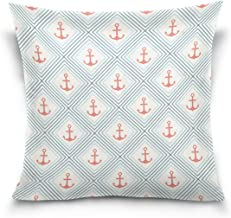 """MASSIKOA Anchor Shape and Line Decorative Throw Pillow Case Square Cushion Cover 18"""" x 18"""" for Couch, Bed, Sofa or Patio -..."""