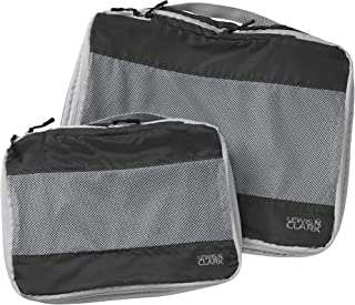 Lewis N. Clark ElectroLight Expandable Compression-Packing Cube + Travel Organizer for Luggage, Suitcase or Carry On with Smart Design Grab Handle & Breathable Mesh, 2-Pack (1 Med, 1 Lrg), Charcoal