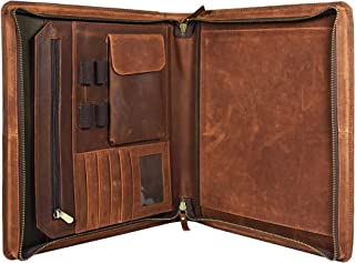Leather Castle Vintage Zippered Business Organizer Book Style File Folder, Brown
