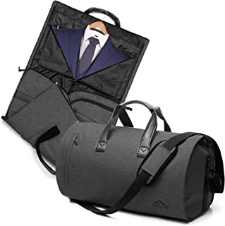 2 in 1 Garment Bag with Shoulder Strap, Convertible Suit Travel Duffel Bag Carry On Bag with Luggage Strap
