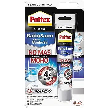 Pattex Baño Sano No Más Moho, silicona antimoho e impermeable, silicona blanca duradera para cocina y baño, resistente silicona sanitaria, 1 tubo x 50 ml: Amazon.es: Industria, empresas y ciencia