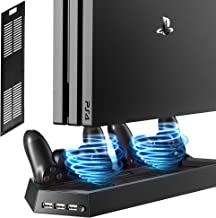 Kootek Vertical Stand with Cooling Fan for PS4 Slim / Regular PlayStation 4, Controllers Charging Station with Dual Charge...