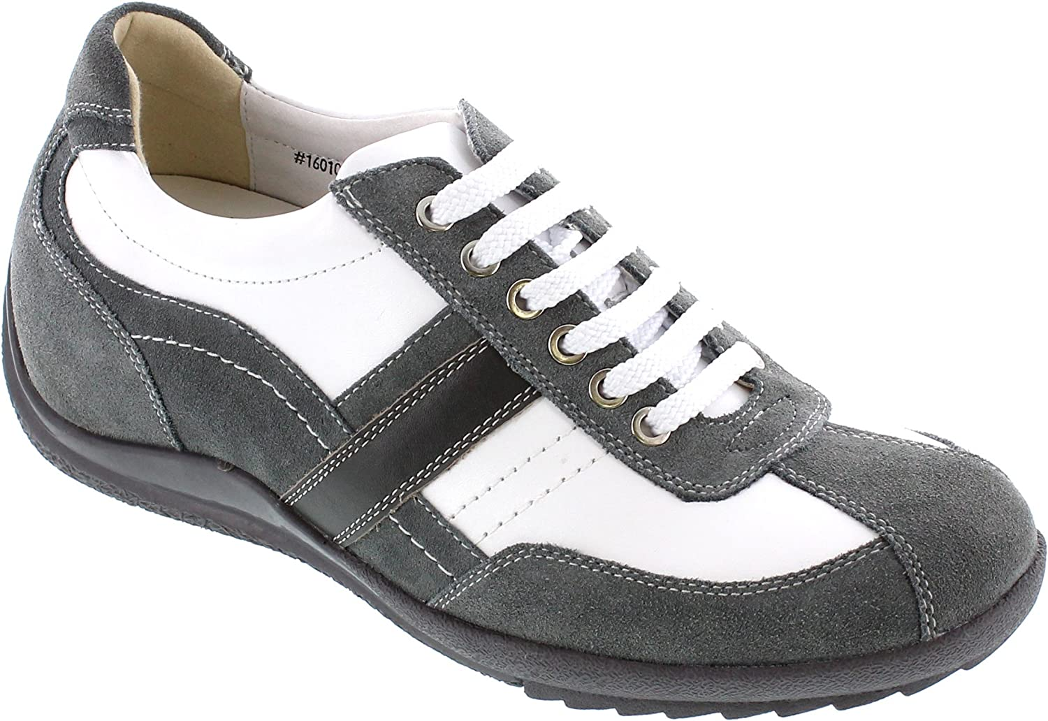 Toto Men's Invisible Height Increasing Elevator shoes - White Grey Leather Lace-up Casual Trainer Sneakers - 2.8 Inches Taller - A6635