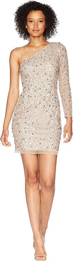 One Shoulder Fully Beaded Cocktail Dress