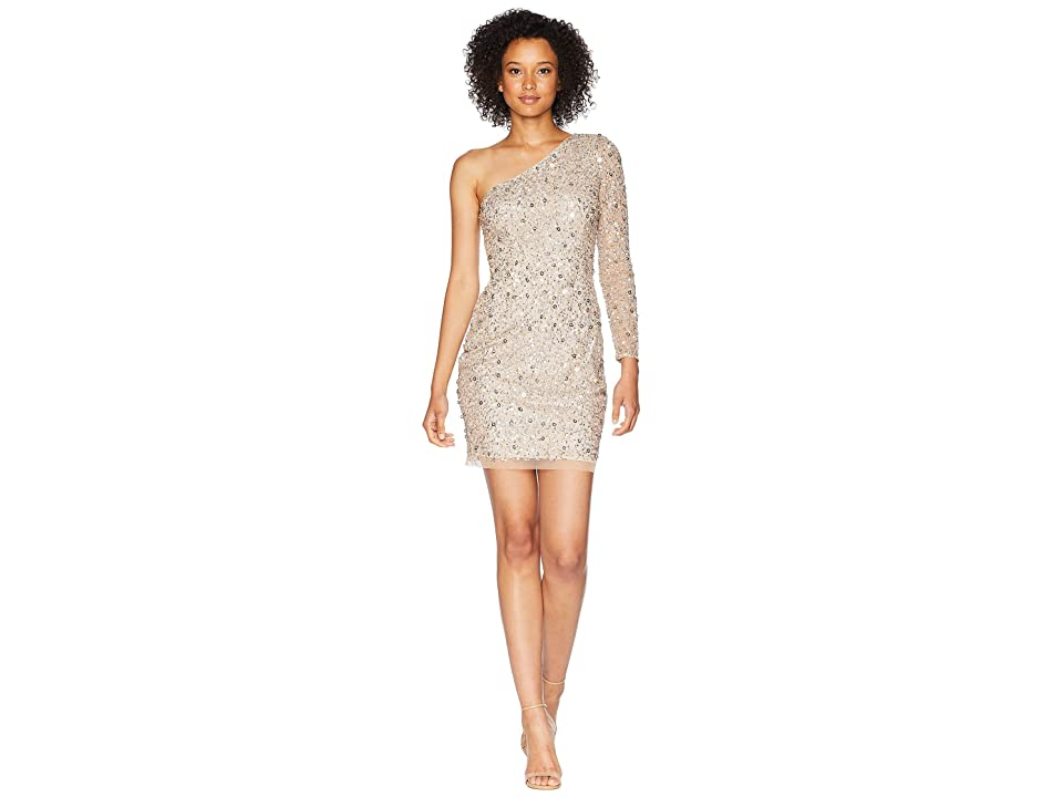 Adrianna Papell One Shoulder Fully Beaded Cocktail Dress (Champagne) Women