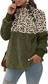 Women Leopard Print Jacket Coat Color Block Sweatshirt Faux Shearling Cardigan with Buttons Outwear