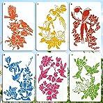 OOTSR 6PCS Flower Bird Template Painting Stencil, Scrapbooking Drawing Stencils, DIY Design Stencils for Daily DIY Art Craft Notebook Card Scrapbook Home Decor