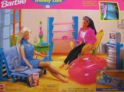 Barbie Trendy Loft Playset w Folding Futon, Lava Lamp & MORE  (1998)