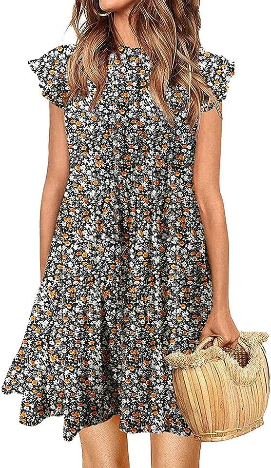 Sommerkleid Damen Knielang Tunika Kleid Polka Dot Blumen Minikleid Ärmellose Rüschenärmel Babydoll T-Shirt Kleider Lose Plissee Minikleid