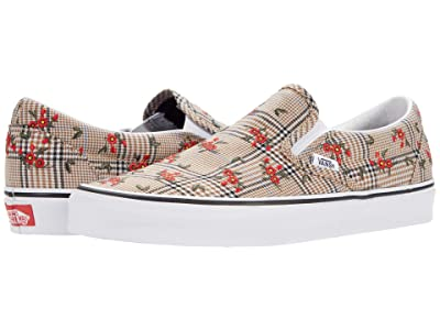Vans Classic Slip-On ((Glen Plaid Floral) Embroidery/True White) Skate Shoes