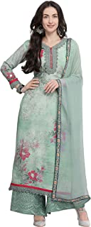 Rajnandini Women's Pure Muslin Semi-Stitched Embroidered Salwar Suit With Stitched Plazzo(MFM109_Turquoise_Free Size)
